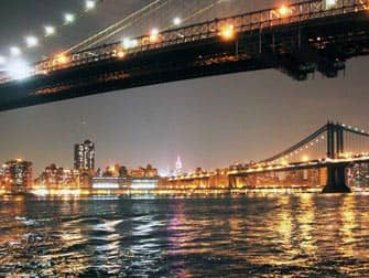 Puistot New Yorkissa - Brooklyn Bridge illalla